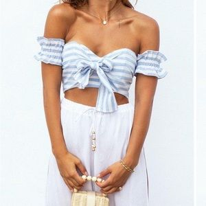 Baby blue off the shoulder crop top